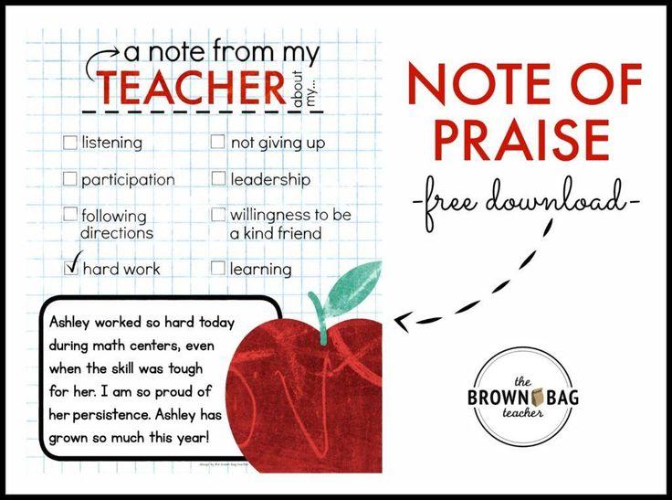 A PBIS Idea: Positive Notes Home - The Brown Bag Teacher