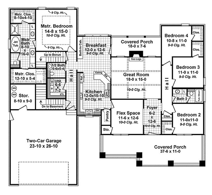 Craftsman Style House Plan - 4 Beds 2.5 Baths 2284 Sq/Ft Plan #21-341 Main Floor Plan - Houseplans.com