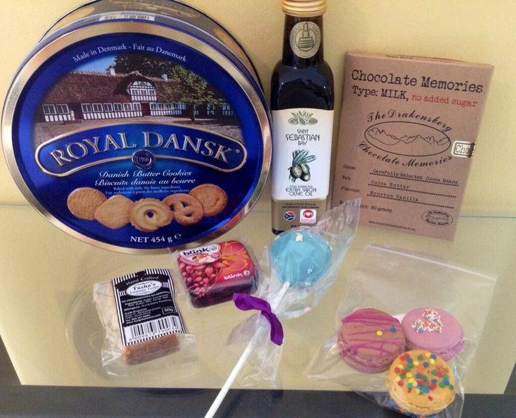 Food goodies #DBNbloggermeet Yummy! @Royal_Dansk_SA @Madame Macaron @GreenleafOlive @BlinkMints1 @TashasFudgeSays