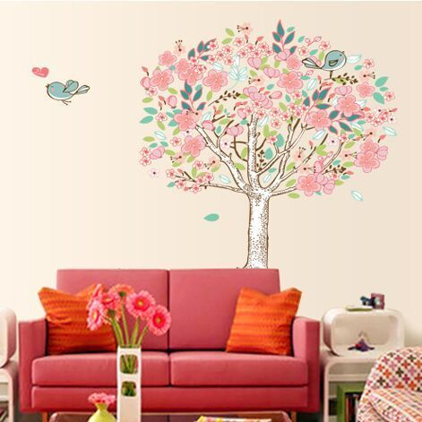 Cheap decorative vinyl wall stickers, Buy Quality stickers deco directly from China stickers cabochon Suppliers: Free Shipping Pvc Cartoon Minstrelsy Love Bird Tree Wall Stickers Living Room Wall Background Romantic Home Decor DF5103