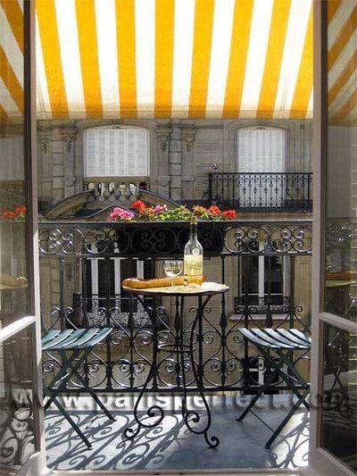<3<3<3: Wine, Paris Apartment, Yellow Stripes, Balconies, Parisapartment, Sunny Day, Places, Terraces, Wrought Irons
