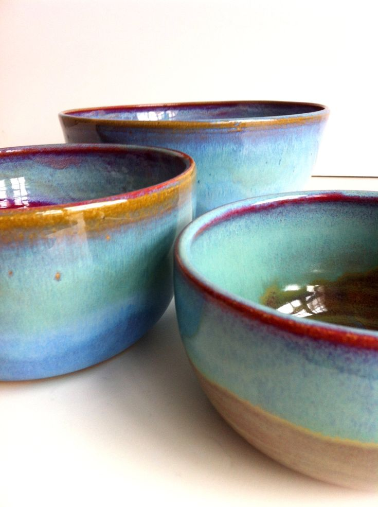 Rustic Blue Large Stoneware Nesting Bowls  - Mixing Bowls. $135.00, via Etsy.