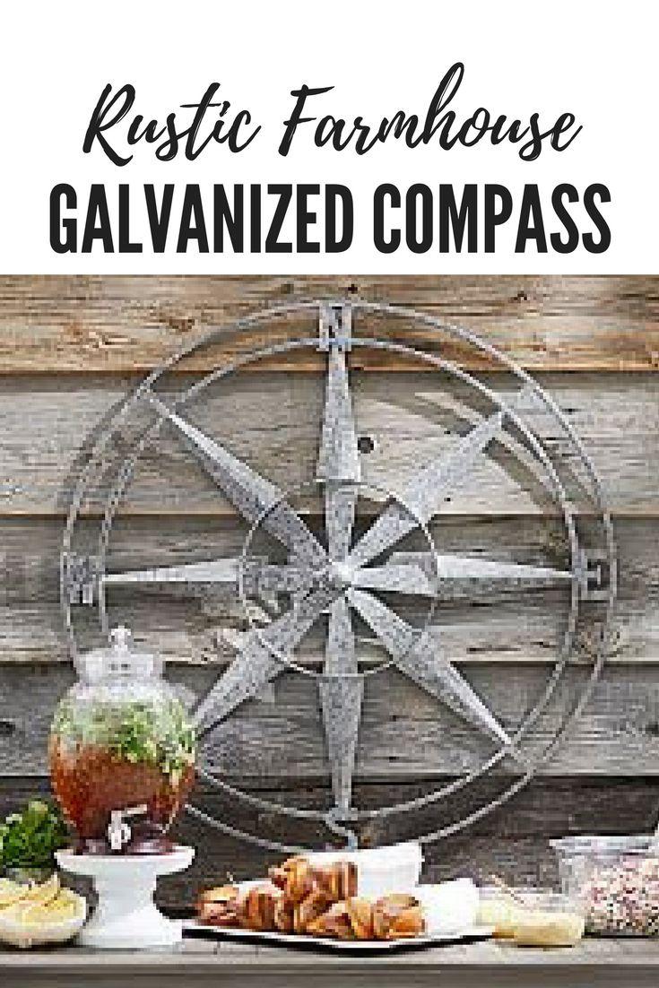 rustic farmhouse home decor galvanized compass #affiliate #wall #art #decor #home #rustic #farmhouse #galvanized #compass