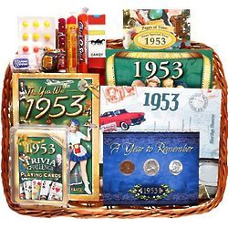 60th Birthday Or Anniversary Gift Basket With Coins