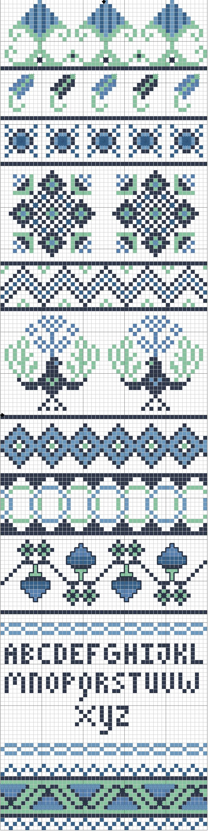 Cross-stitch Borders ... no color chart available, just use the pattern chart as your color guide.. or choose your own colors... phoenix-rising-i1.png (704×2809)