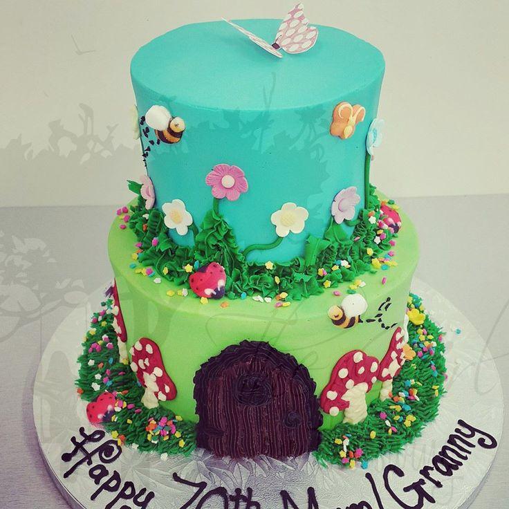 Two Tier garden cake with Enchanted Door