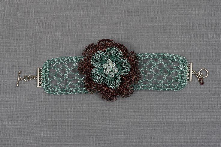 bracelet made of enameled copper and Svarovski crystals