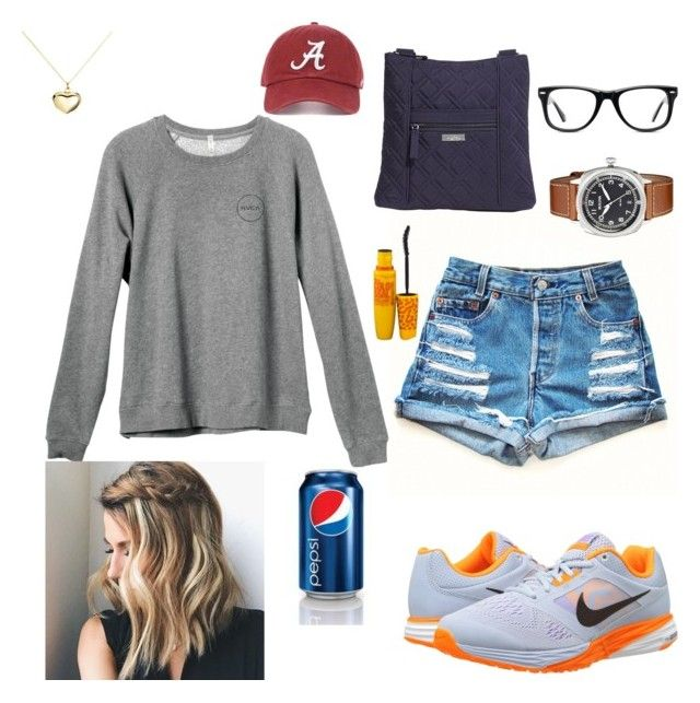 """""""Watching the game"""" by siddle1230 on Polyvore featuring NIKE, RVCA, Vera Bradley, Muse, Argento Vivo, Maybelline and Bulova"""