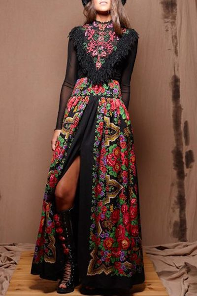 Retro Embroidery Print Long Sleeves Fringes Maxi Dress