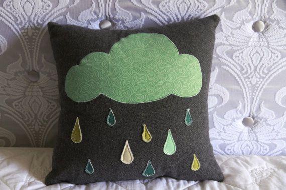 OOAK Grey and Turquoise Rain Cloud Cushion