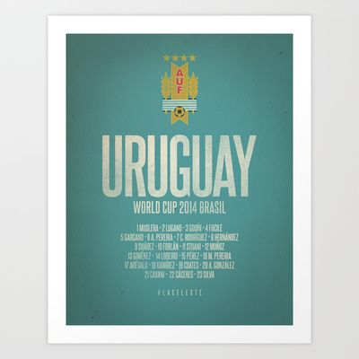 Uruguay World Cup 2014 Celebrative Artwork Art Print by The Soccer Supply - $14.56