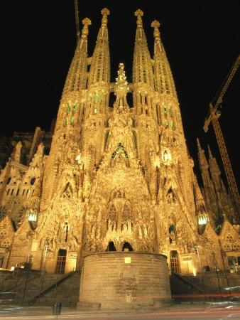 La Sagrada Familia at night, Barcelona
