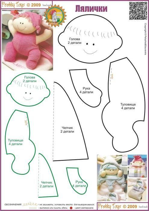 Linda bonequinha em feltro com moldes...imagem retirada do Pinterest...