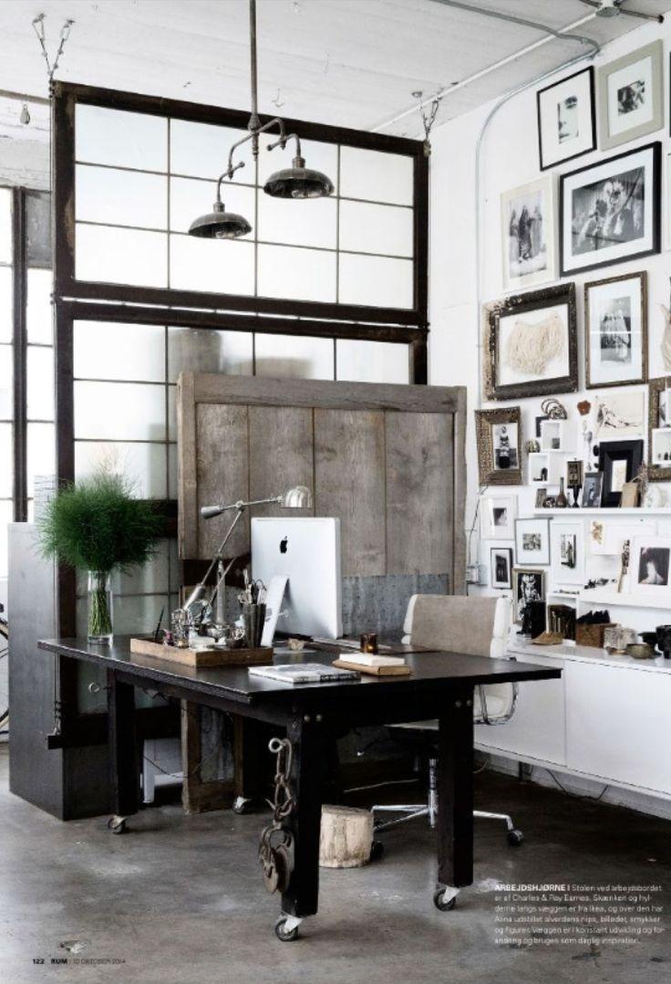 Home office # dark wood industrial white walls