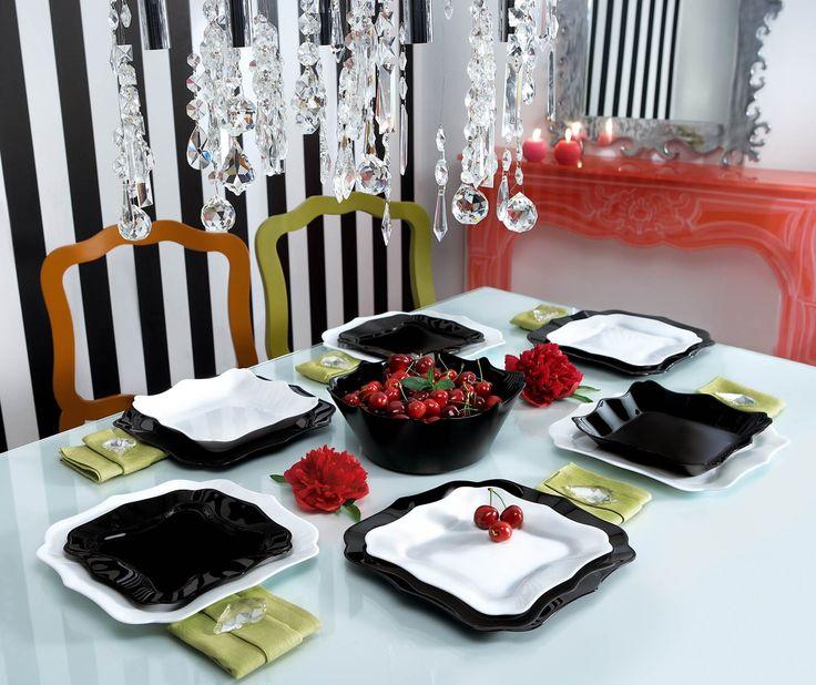 dinnerware set authentic noir & blancluminarc – la table d