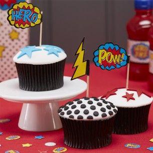 Comic Superhero Party Cupcake Picks
