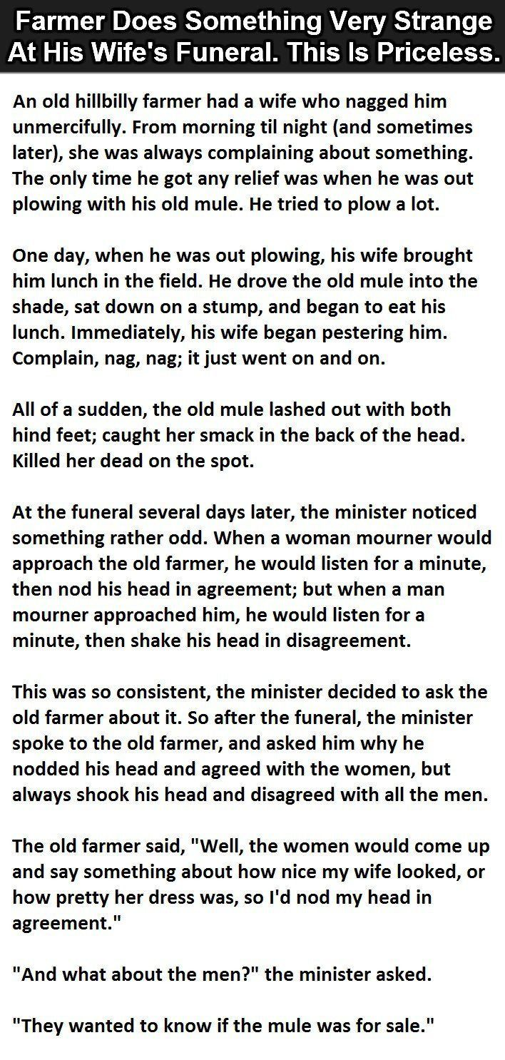 best ideas about strange stories writing help a farmer did something very strange at his wife s funeral this is priceless funny jokes story