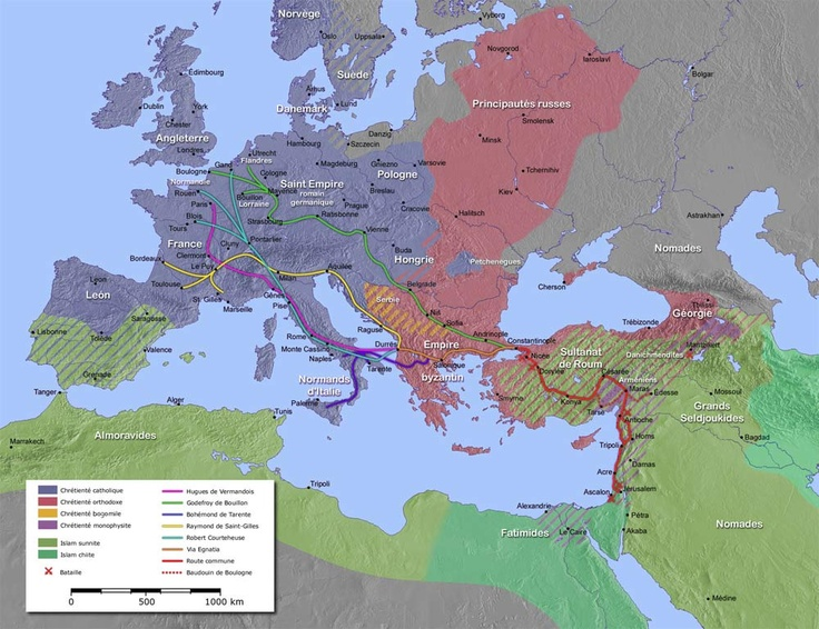 Carte de la première Croisade