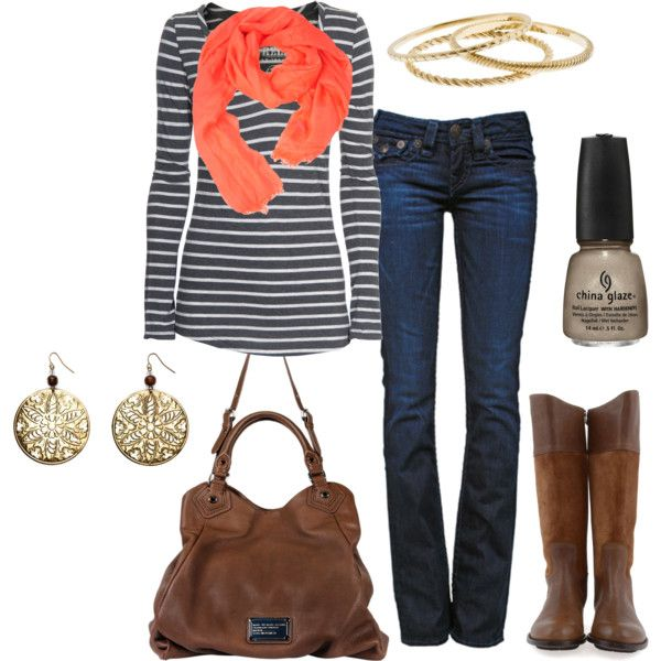 Stripes and a pop of color!Striped Shirts, Casual Outfit, Style, Fall Winte, Fall Looks, Coral Scarf, Fall Outfit, Comfy Fall, Orange Scarf