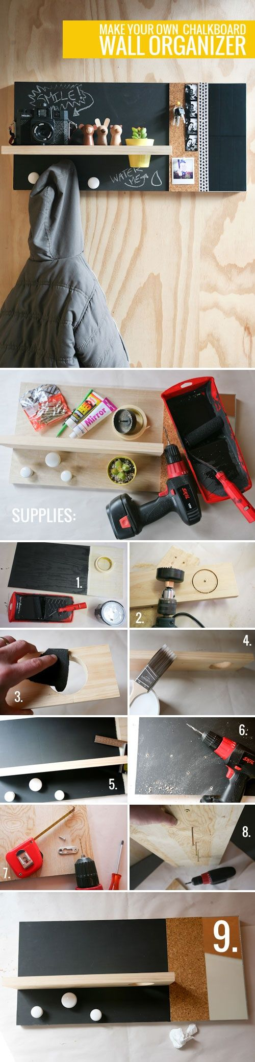DIY Chalkboard Wall Organizer DIY Chalkboard Wall Organizer - Instead of a plant in the pot, put a roll of glucose tablets so you are never without an emergency source of glucose for those unexpected lows. You could also keep a few granola bars handy on this shelf too.