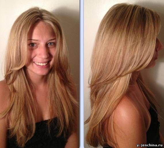Стрижка объемная на длинные волосы фото