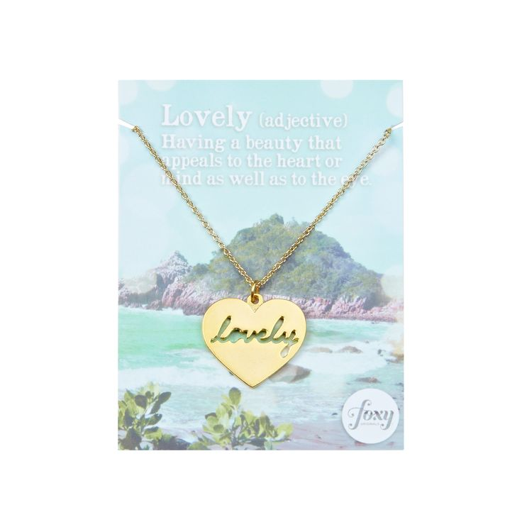 """Lovely necklace - available in gold and silver. Get 25% off this necklace with code """"foxypin"""" http://www.foxyoriginals.com/Lovely-Necklace-in-Gold.html Tags: gold necklace, heart jewelry, follow your heart, lovely"""