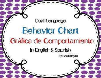 Behavior Chart - Grafica de Comportamiento  This Behavior Chart is in both English & Spanish. It is perfect for a Bilingual or a Dual Language classroom.