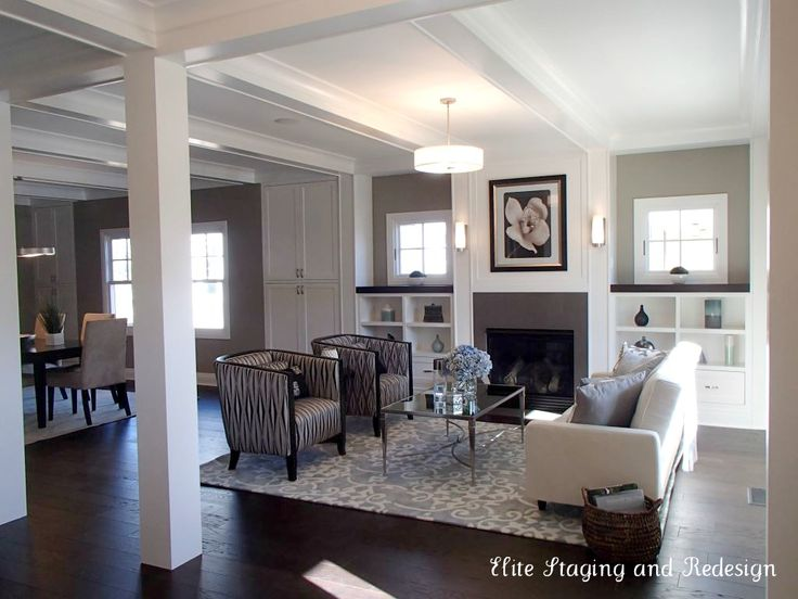 i love these dark hardwood floors and the contrast w area