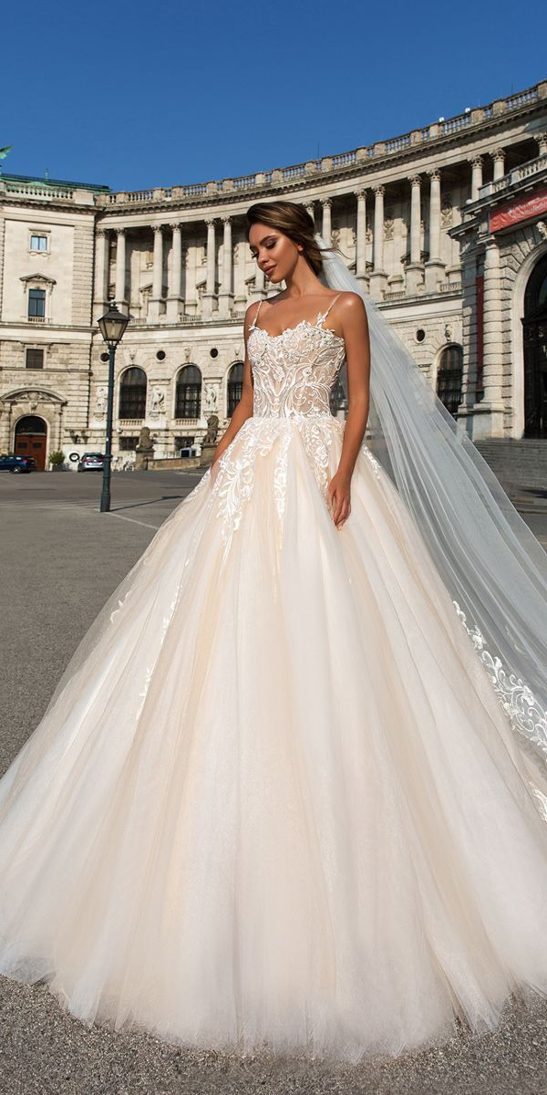 crystal design 2018 wedding dresses blush ball gown lace spaghetti straps style carol