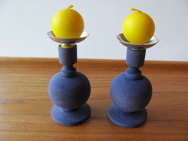Aarikka Finland Vintage Candle Holders Violet Wood with Yellow Candles Signed