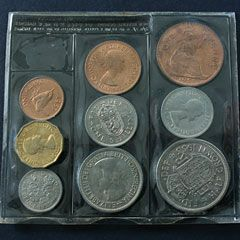 UK old money in coins!  On the left,- Farthing, Threepenny bit, sixpence. Middle,- halfpenny, shilling, florin. Right - Penny shilling, half crown. How much easier it was to work out decimal when the change over happened ~ I was still in Primary school. Funnily enough I still think in feet & inches and pounds & ounces though.