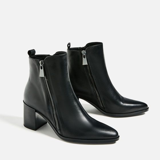 Image 3 of LEATHER ANKLE BOOTS WITH ZIPS from Zara