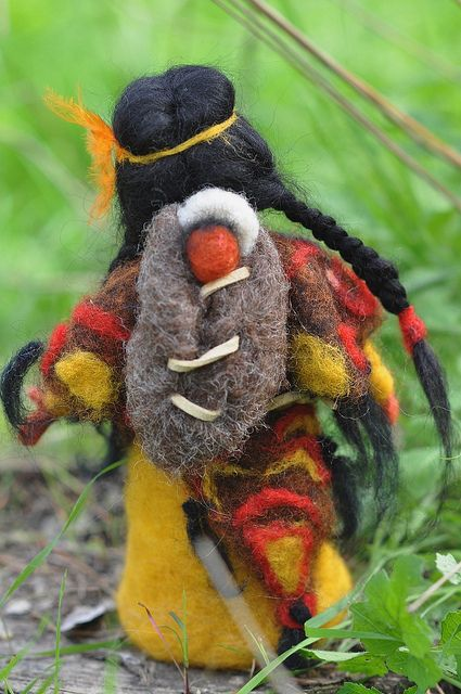 Needle felted native american