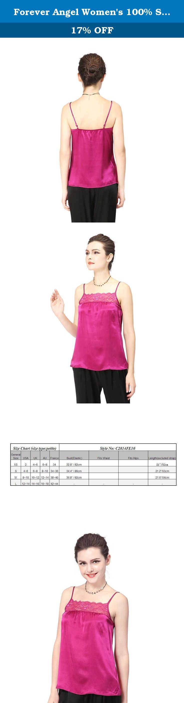 """Forever Angel Women's 100% Silk Charmeuse Lace Camisole Top Warm Red Size M. ♦This top is made of 16 momme high quality silk Charmeuse,modern and elegant ; The """"hand"""" of silk is exceptionally smooth and flowing. ♦It is so light and soft that when you run it across your skin, it feels like a gentle breeze or fresh stream of water. Not only beautiful,it is also healthy! It is particularly good for those who have allergies, arthritis or other ailments because it is naturally hypoallergenic..."""