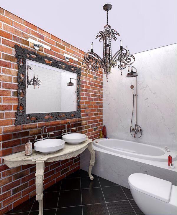 Ванная комната в стиле Лофт)