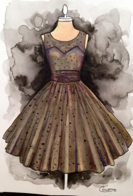 A rather dark dress this week, black net overlay with beige lining. Watercolour dress by Collette