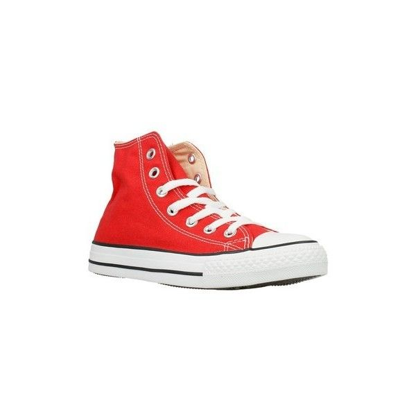 Converse Chuck Taylor Shoes (High-top Trainers) (£110) ❤ liked on Polyvore featuring shoes, sneakers, high top trainers, red, women, converse footwear, converse sneakers, converse shoes, red hi tops and red shoes