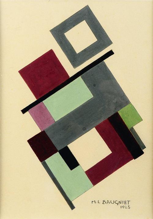 Composition abstraite, 1925. Gouache on paper, 53.5 x 43 cm. Marcel-Louis Baugniet (1896-1995):