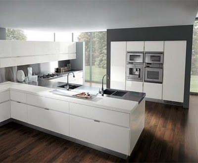 Love the sleek modern white cabinets, warm chocolate floor, and slate gray wall.: Interior Design, White Kitchen, Italian Kitchens, Design Ideas, Kitchen Interior, House, Modern Kitchens, Kitchen Ideas, Kitchen Designs