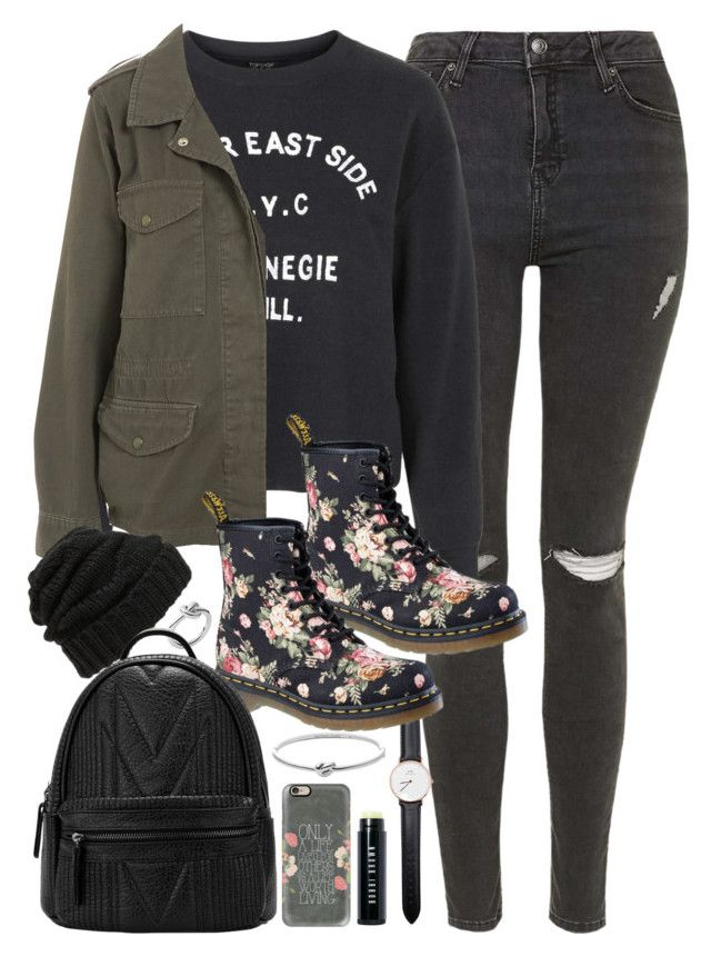 """Outfit for school in winter"" by ferned on Polyvore featuring Michael Kors, Topshop, Dr. Martens, Leith, Daniel Wellington, Casetify, Bobbi Brown Cosmetics, women's clothing, women's fashion and women"