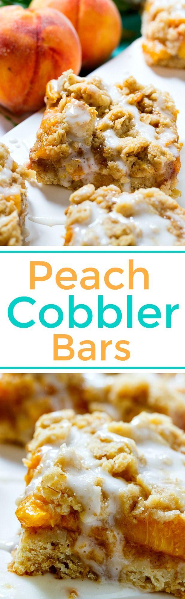 Peach Cobbler Bars taste like peach cobbler in bar form. Great for summer potlucks and picnics.