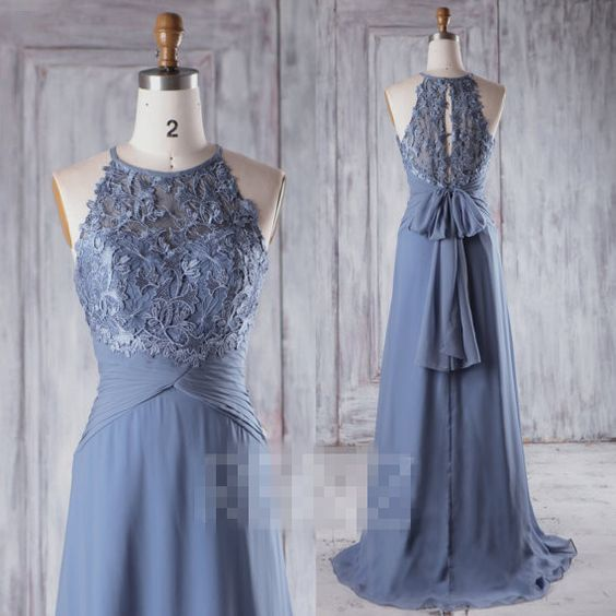 2017 Steel Blue Chiffon Bridesmaid Dress, Sweetheart Illusion Wedding Dress, Bow Back Prom Dress, Lace Evening Gown Floor Length