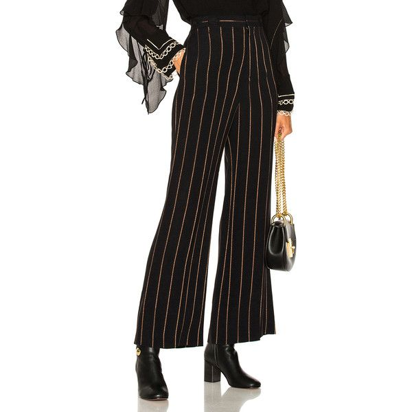 Chloe Lurex Stripe Jacquard Wide Leg Pants ($785) ❤ liked on Polyvore featuring pants, wide leg trousers, striped wide leg pants, jacquard pants, striped wide leg trousers and chloe pants