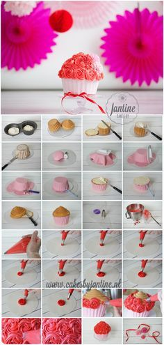 Fotografie: Fotografie Lydia Recept: Cakes by Jantine Benodigdheden Wilton giant cupcake pan bakspray taartkarton spatel smoother balltool mesje spuitzak 1M spuitmond 250