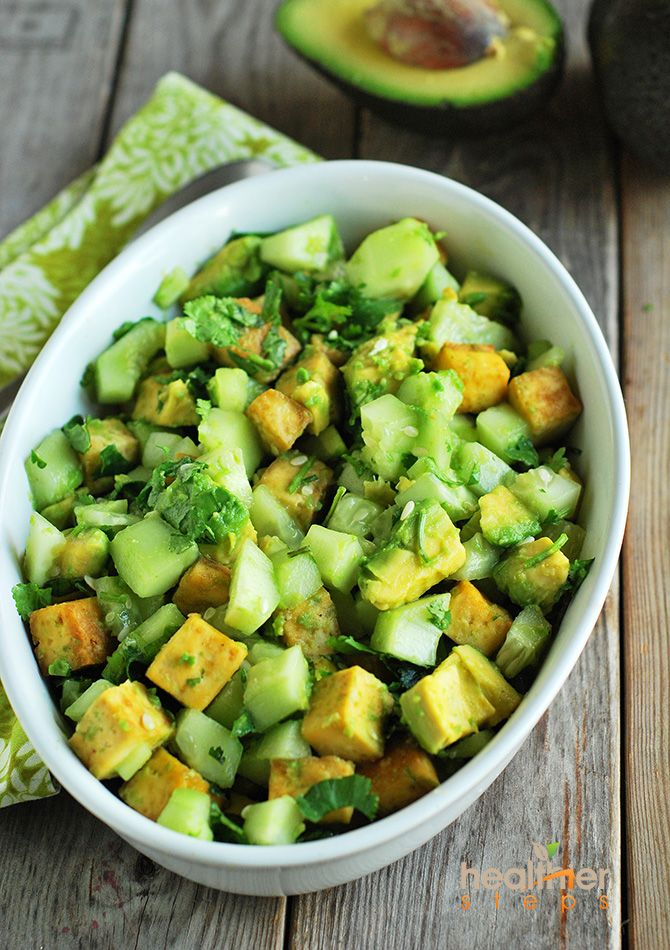 Avocados are in season! Pick some up and try this avocado tofu salad #itssoygood #soyconnection