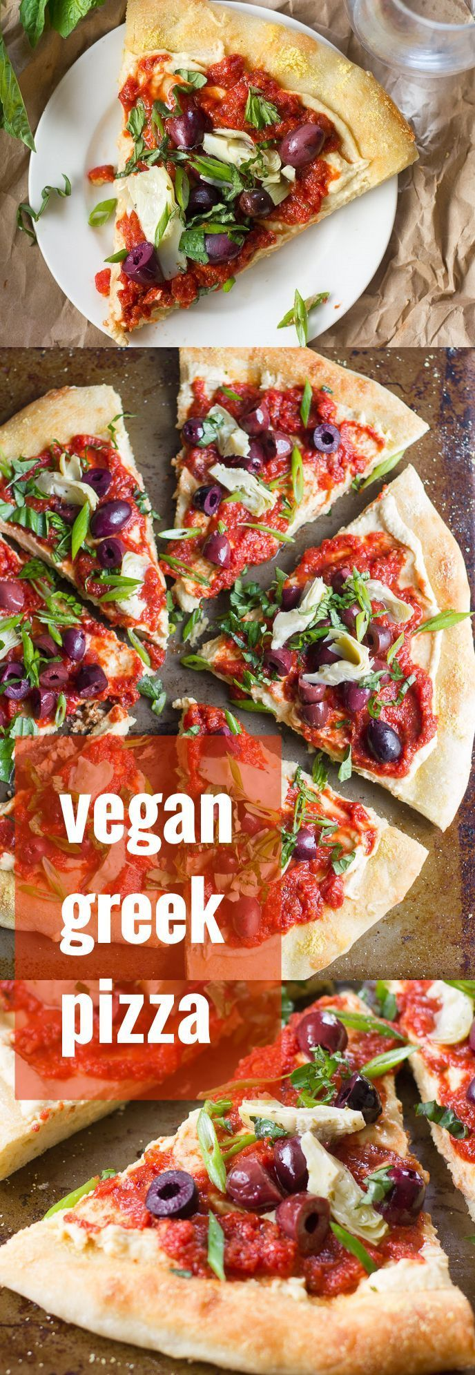 Hummus and tomato sauce are slathered onto a thick crust and piled with Kalamata olives, artichoke hearts and fresh herbs to create this flavor-packed vegan Greek-inspired pizza.