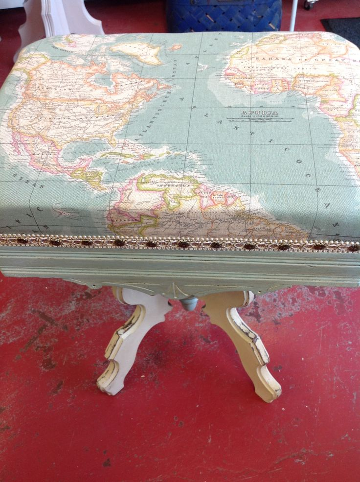 Stationary organ stool painted in Annie Sloan chalk paint™ duck egg blue and old ochre, distressed and clear and dark wax. Fabric is the world from Annie Sloan collection form England. #duckegg #old ochre #bavintage #anniesloan