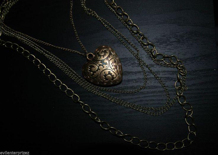 Vintage Style Heart Necklace, Antique Bronze Chain Steampunk/Vintage/Retro