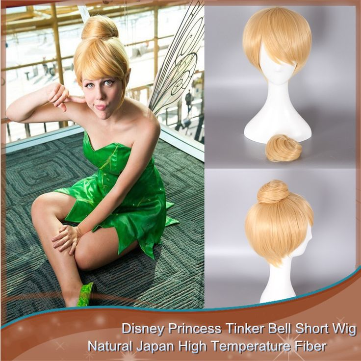 Synthetic Blonde Women's Cosplay Costume Wig With Bun for Disney Princess Tinker Bell Short Blonde