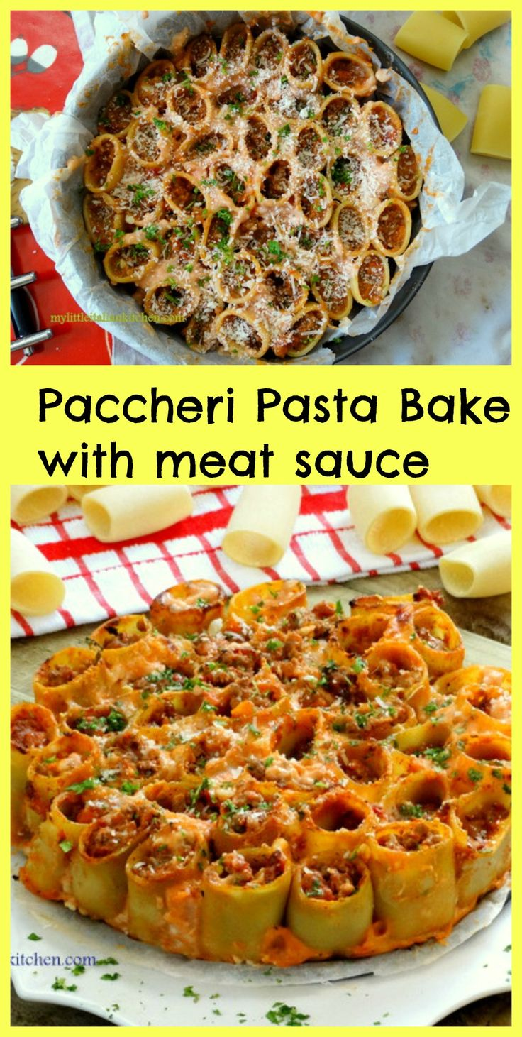 Paccheri pasta bake with meat sauce, great for dinner parties!